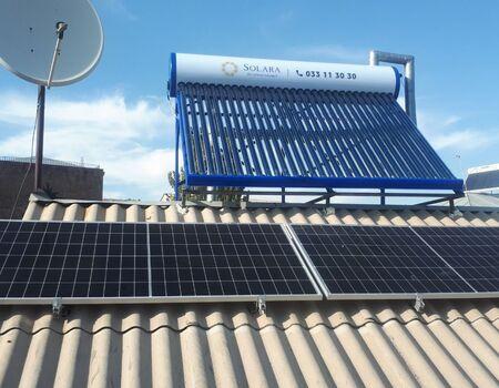 Արևային վահանակների և ջրատաքացուցիչի տեղադրում